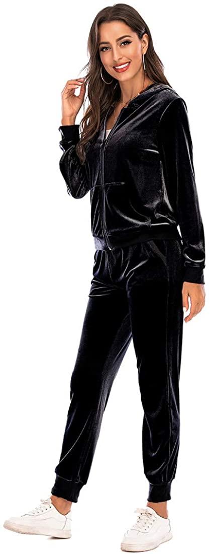BEALIN 벨벳 TRACKSUITS 여성용 긴 소매 지퍼 까마귀 자켓 롱 바지 2 피스 벨벳 라운지 세트