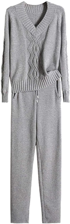 여자 양모 대나무 섬유 캐시미어 니트 정장 패션 V-목 스웨터 바지 투피스 세트