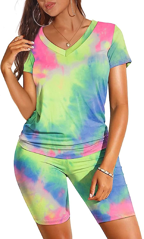 여성 타이 염료 세트 두 조각 의상 여름 반바지 세트 V 넥 반팔 티셔츠 반바지 세트 조깅 TRACKSUIT