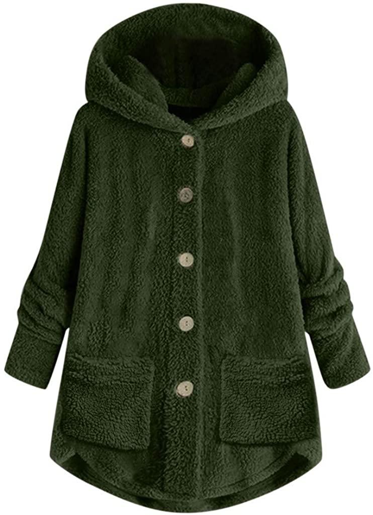 IYYVV 여성 플러스 사이즈 버튼 플러시 후드 루스 포켓 카디건 울 코트 겨울 자켓