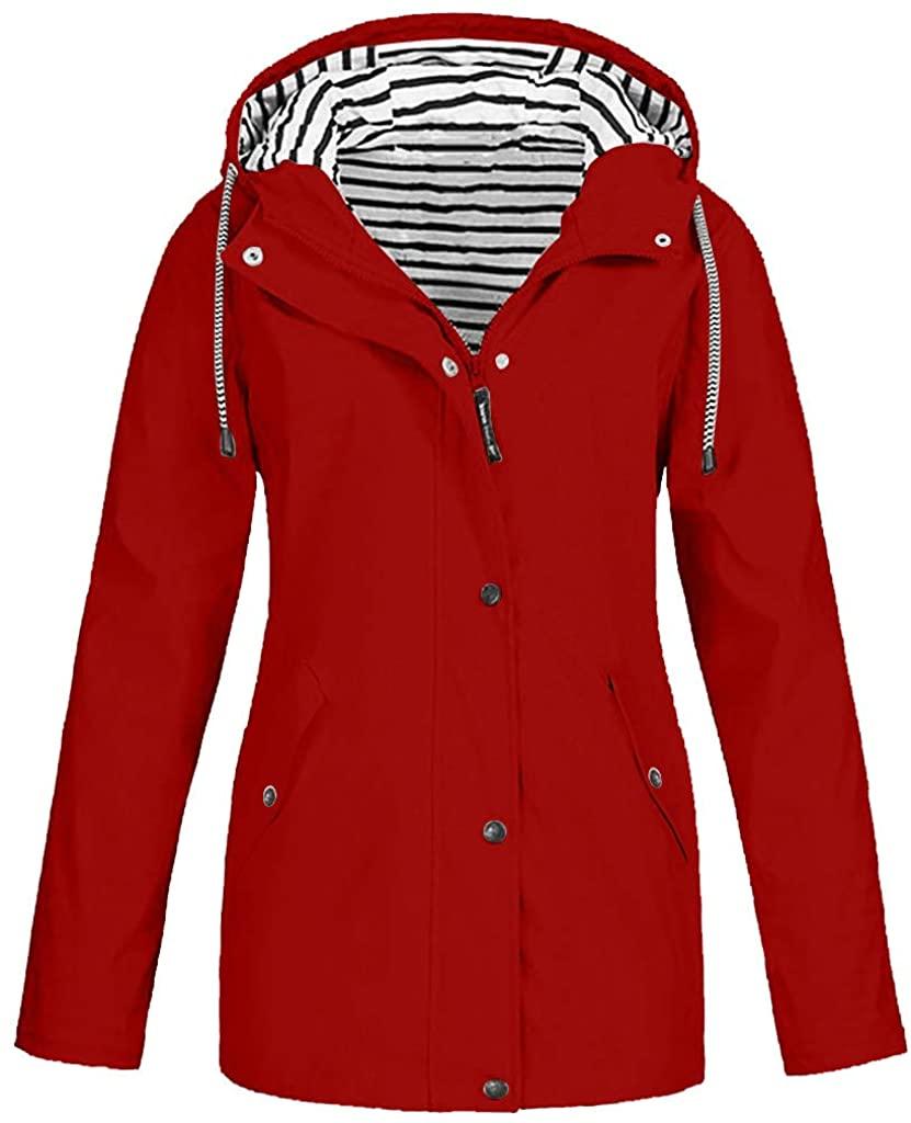 DERENZIDE 여성 방수 비옷 야외 후드 비 재킷 윈드 브레이커 경량 방풍 활성 야외