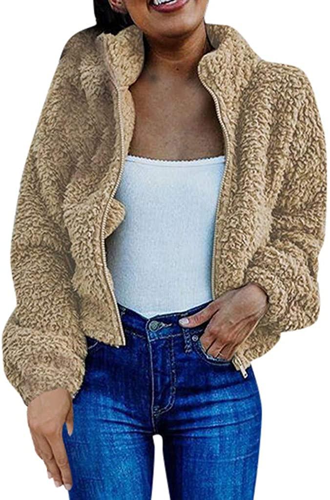 패션 여성 지퍼 옷깃 긴 소매 플러시 카디건 자켓 양털 자른 코트