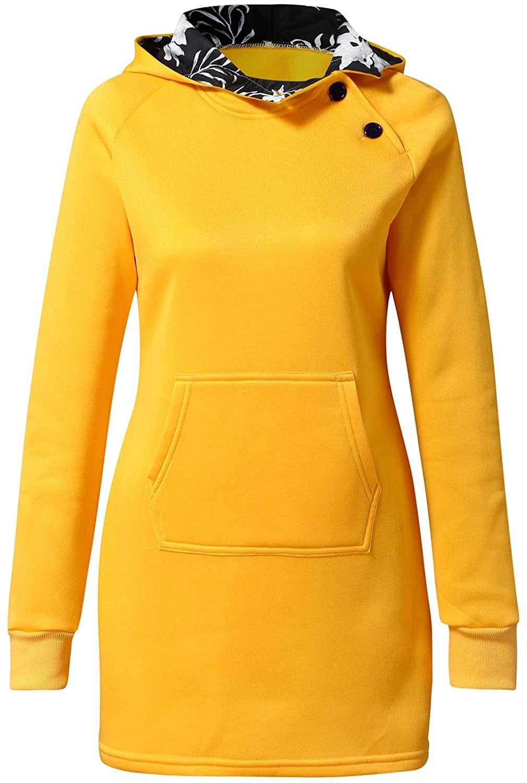 HENGSHIKEJI 여성 캐주얼 후드 지퍼 업 긴 후드 티 스웨터 아우터 자켓 튜닉 긴 소매 코트 포켓