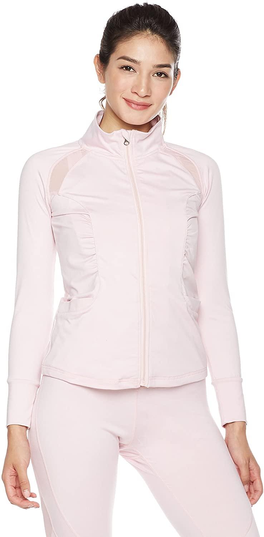 민트 라일락 여성 용 풀 지퍼 러닝 워크트랙 재킷 경량 운동 포켓 후드