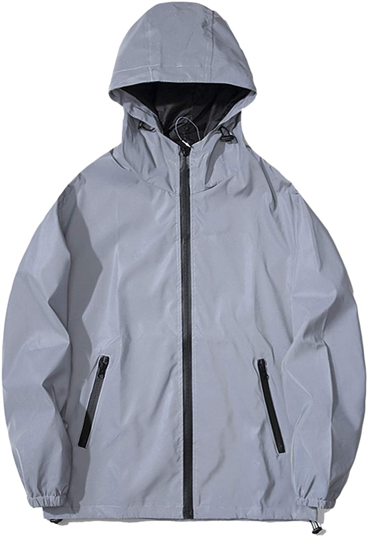 SUNYUAN 여성의 슈퍼 밝은 반사 재킷 윈드 더블 레이어 트렌치 후드 형광 RUNING 코트