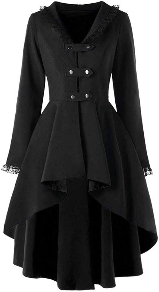 여성 슬림 버클 불규칙한 아웃웨어 긴 소매 레이스 FLOWY HEM JACKET 공식 코트