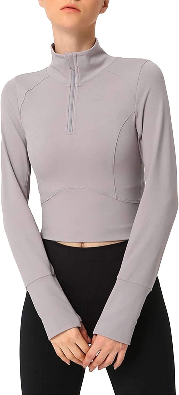지유니 여자 운동 작물 지퍼 라이트 매끄러운 운동 요가 재킷 엄지 구멍