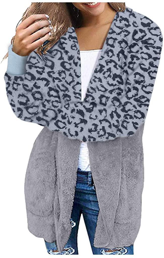 POTO 카디건 여성용 레오파드 패치 워크 퍼지 플리스 오픈 프론트 코트 포켓 오버 사이즈 까마귀 아웃웨어 자켓