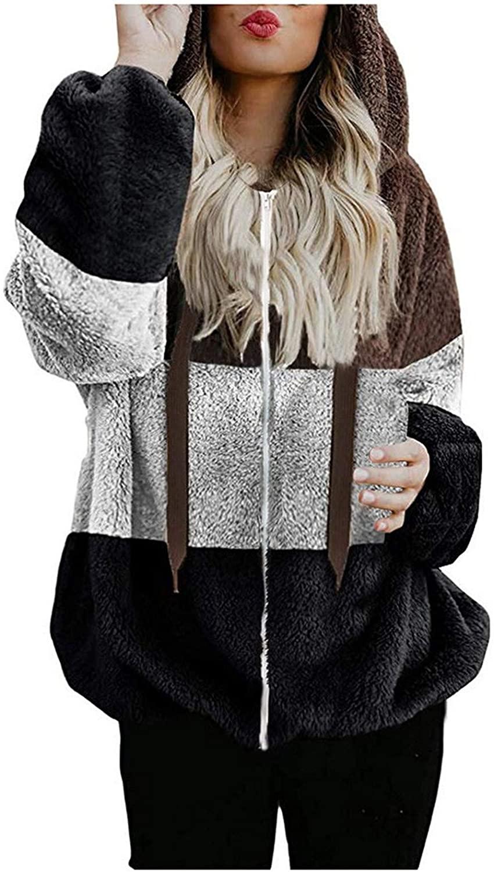 여성 컬러 블록 후드 티 스웨터 코트 여성 오버 사이즈 풀 지퍼 업 아웃웨어 여성 겨울 따뜻한 양털 자켓