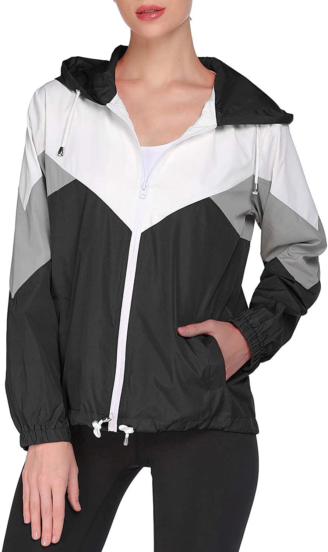 GEESENSS WOMENS 방수 레인 코트 경량 윈드 브레이커 야외 후드 비 재킷