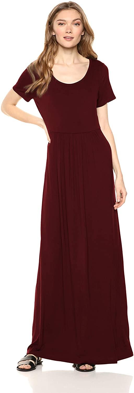 아마존 브랜드 - 데일리 의식 여성 저지 반소매 스쿱 넥 엠파이어 웨이스트 맥시 드레스