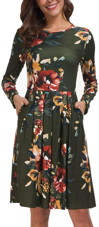 크란다 우먼 V | 라운드 넥 롱 슬리브 플로럴 플리츠 미디 버팔로 격자 무늬 드레스 와 포켓