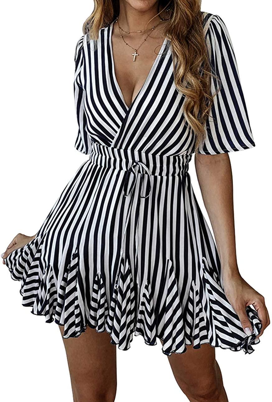 PRETTYGARDEN 여성의 여름 깊은 V 목 짧은 소매 스트라이프 랩 프릴 밑단 PLEATED 미니 드레스 벨트