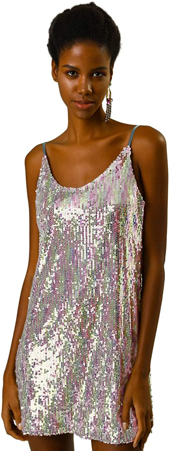 ALLEGRA K 여성용 반짝이 스파클 조절 식 스트랩 미니 파티 스팽글 드레스
