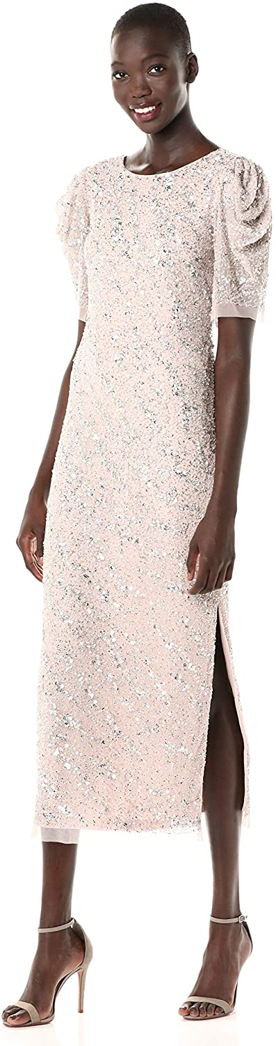 ADRIANNA PAPELL WOMEN`S BEADED ANKLE LENGTH DRESS