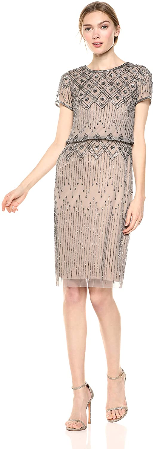 ADRIANNA PAPELL WOMEN`S BEADED COCKTAIL DRESS SHORT SLEEVES
