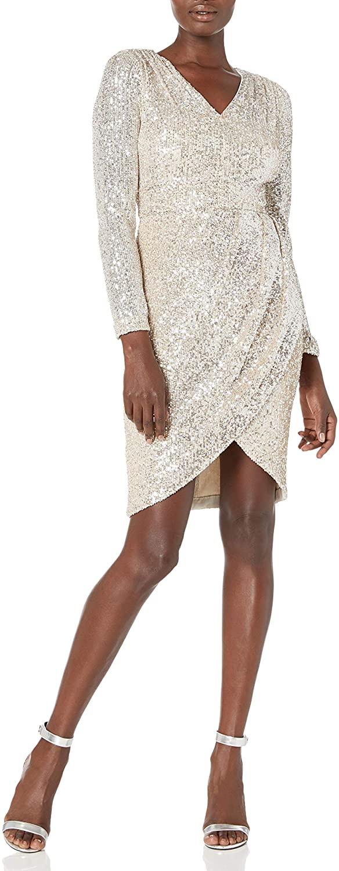 캘빈 클라인 여성 롱 슬리브 V 넥 칵테일 드레스 와 드레이프 스커트