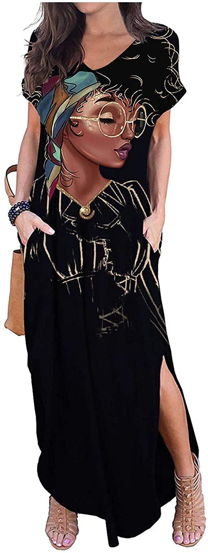 AZPSRT WOMEN`S CASUAL LOOSE LONG DRESS T-SHIRT DRESS LONG SLEEVE MAXI DRESSES POCKETS