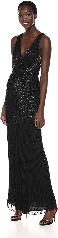 파커 여성 군주 서플리스 네크라인 비드 드레스