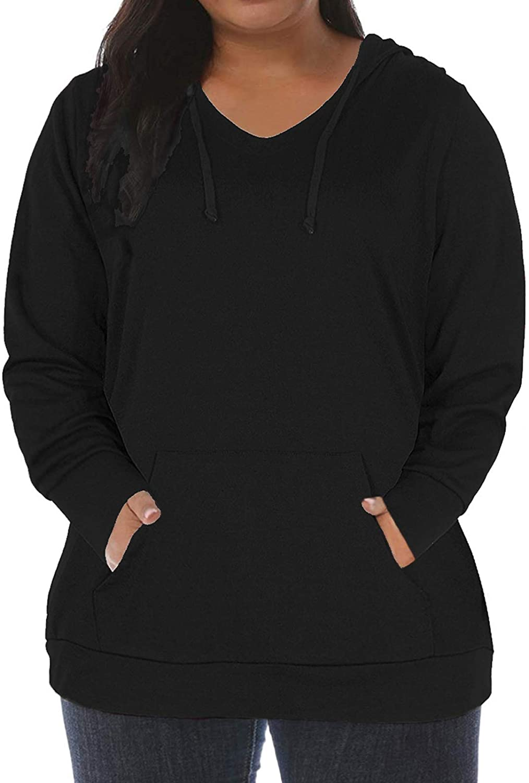 VISLILY 여성 플러스 사이즈 후드 V 넥 풀오버 스웨트셔츠 와 포켓