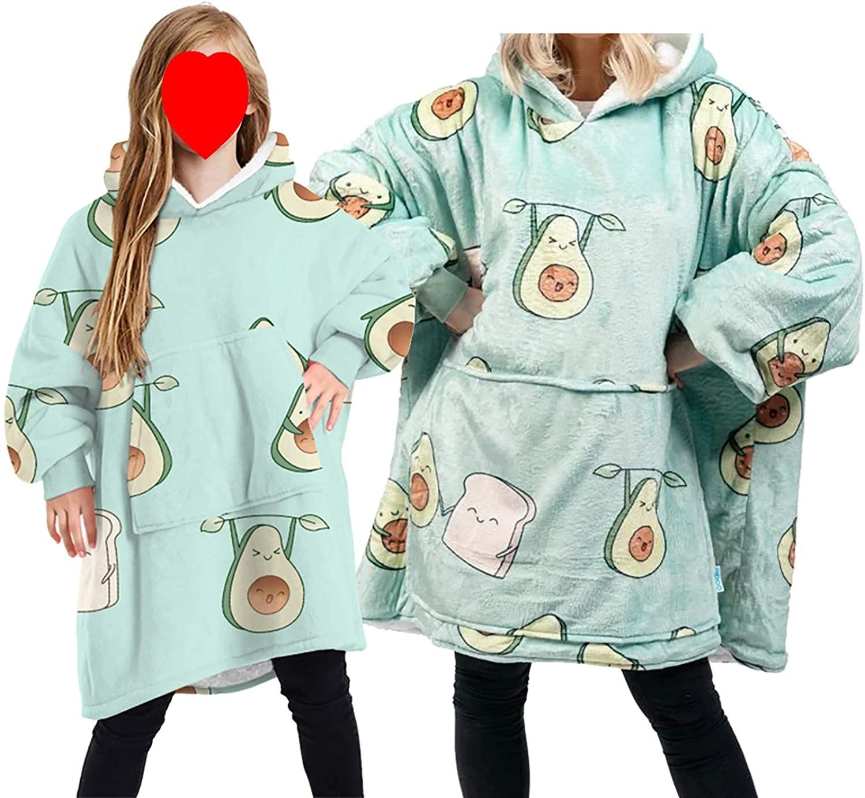 가족 매칭 오버사이즈 웨어러블 담요 후드 스웨트셔츠 슈퍼 따뜻하고 아늑한 양털 풀오버와 자이언트 프론트 포켓