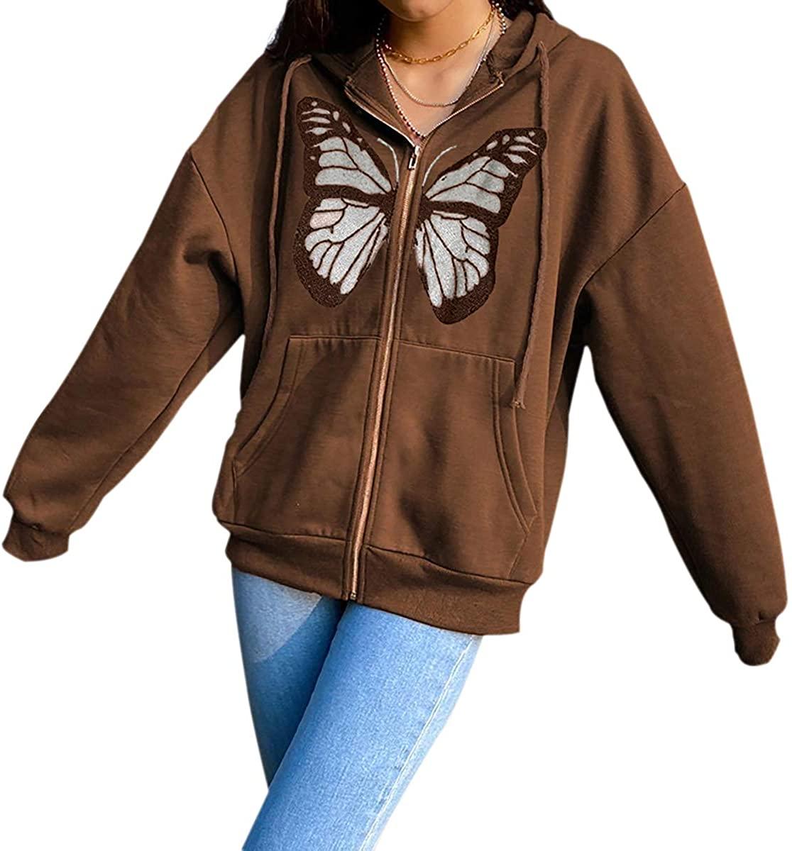 메라디안 여성 오버사이즈 나비 그래픽 후드 지퍼 업 드로스트링 루즈 후드 재킷과 포켓
