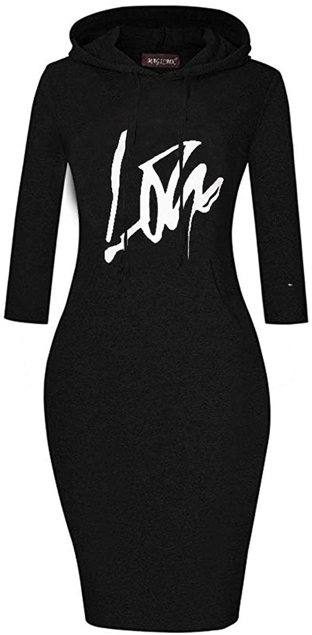 MAGICMK 여성 긴 소매 프린트 입술 슬림 장착 무릎 길이 스웨트 셔츠 와 포켓 캐주얼 풀오버 후드 드레스..