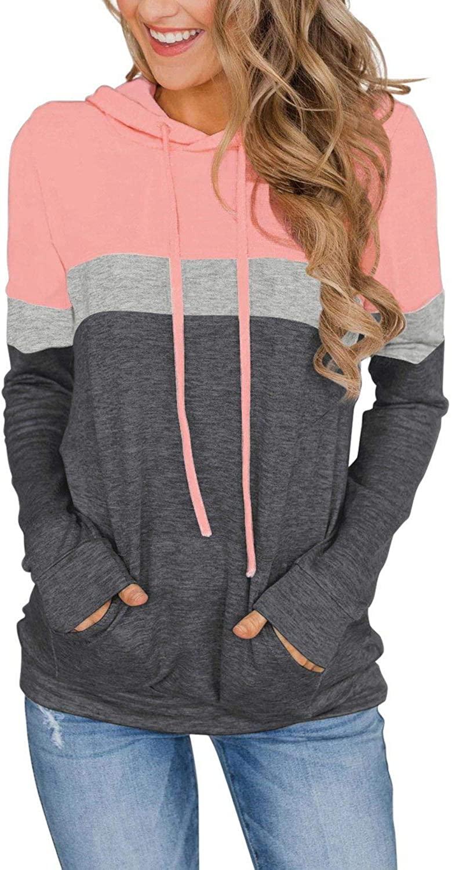 핑크MSTYLE 여성 캐주얼 컬러 블록 후드 탑스 롱 슬리브 드로스트링 풀오버 스웨트셔츠 포켓(S-XXL)
