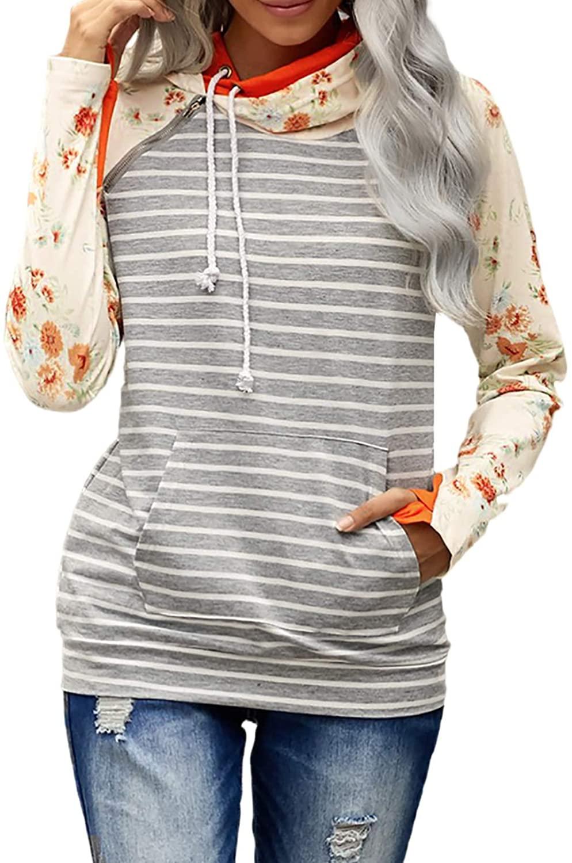 FOBEXISS 여성 꽃 프린트 긴 소매 엄지 손가락 구멍 캥거루 포켓 드로스트링 더블 후드