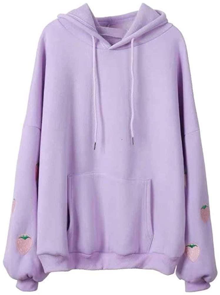 JMSXXL 하라주쿠 딸기 자수 라벤더 핑크 스웨트셔츠 가을 겨울 여성 느슨한 긴 소매 탑오버사이즈 후드