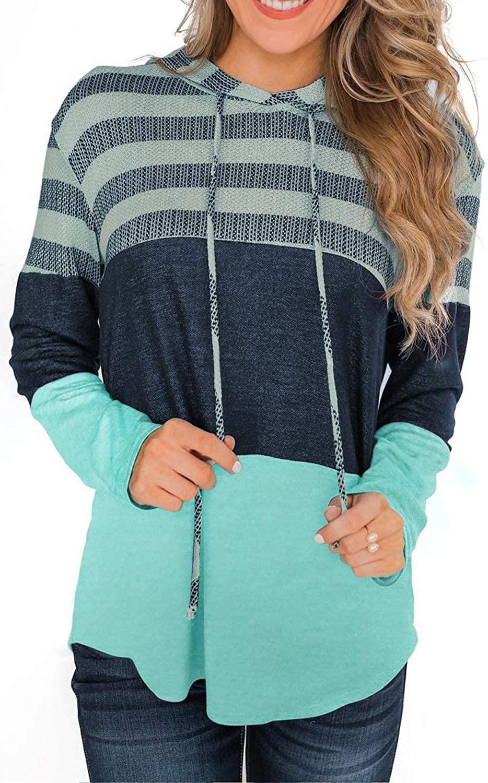 NEYOUQE 여성 컬러 블록 스트라이프 후디 풀오버   카디건 스웨트셔츠 탑스