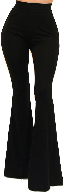 VIVICASTLE WOMEN`S USA BOHO COMFY STRETCHY BELL BOTTOM FLARE PANTS