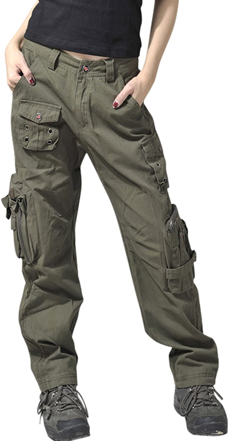 CHOUYATOU WOMEN`S ACTIVE LOOSE FIT MILITARY MULTI-POCKETS WILD CARGO PANTS