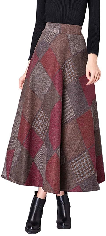 DAXVENS 긴 양모 격자 무늬 스커트 포켓 여성 탄성 허리 A 라인 맥시 체크 무늬 타탄 플레어 겨울 스커트