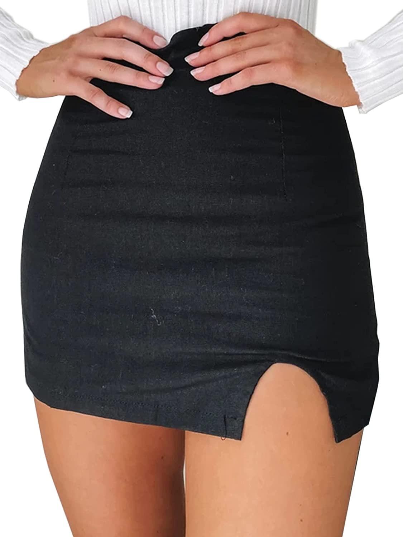 JUSTALWART 여성의 높은 허리 미니 BODYCON 스커트 짧은 랩 스커트