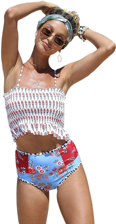 VAREZANE 플래그 인쇄 높은 허리 인쇄 SMOCKED 여성의 패션 수영복 HIGHWAIST 높은 허리 수영복 여성