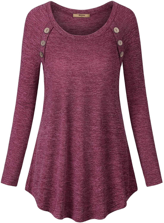 미우세 여성 롱 슬리브 스쿱 넥 버튼 튜닉 스웨트셔츠 루즈 티 셔츠