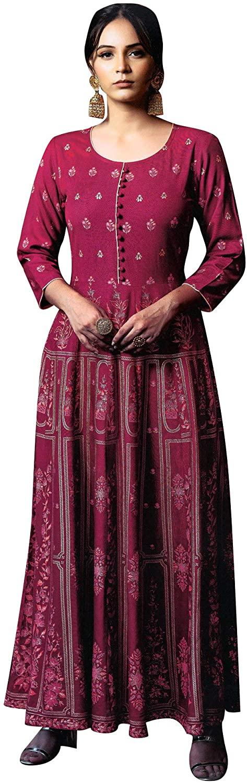 LADYLINE ANARKALI RAYON PRINTED FLOOR LENGTH KURTI FOR WOMEN KURTA TUNIC INDIAN DRESS