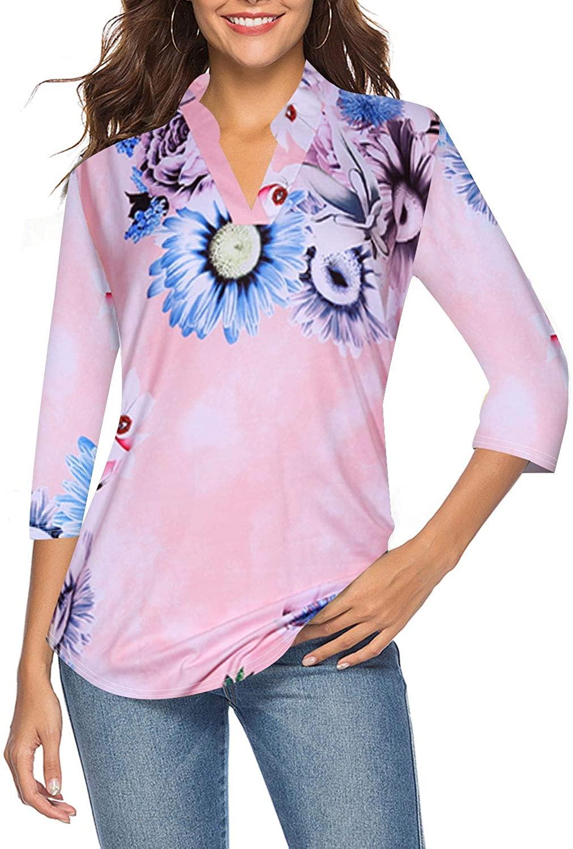 CEASIKERY 여성 3 | 4 슬리브 플로럴 V 넥 탑스 캐주얼 튜닉 블라우스 루즈 셔츠 008