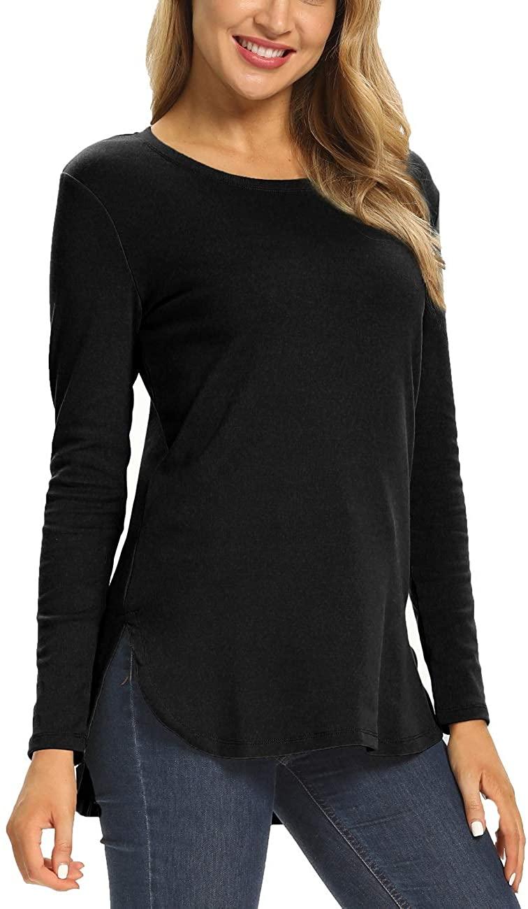 헤루 우먼 롱 슬리브 루즈 캐주얼 사이드 스플릿 튜닉 스웨터 탑스 티셔츠
