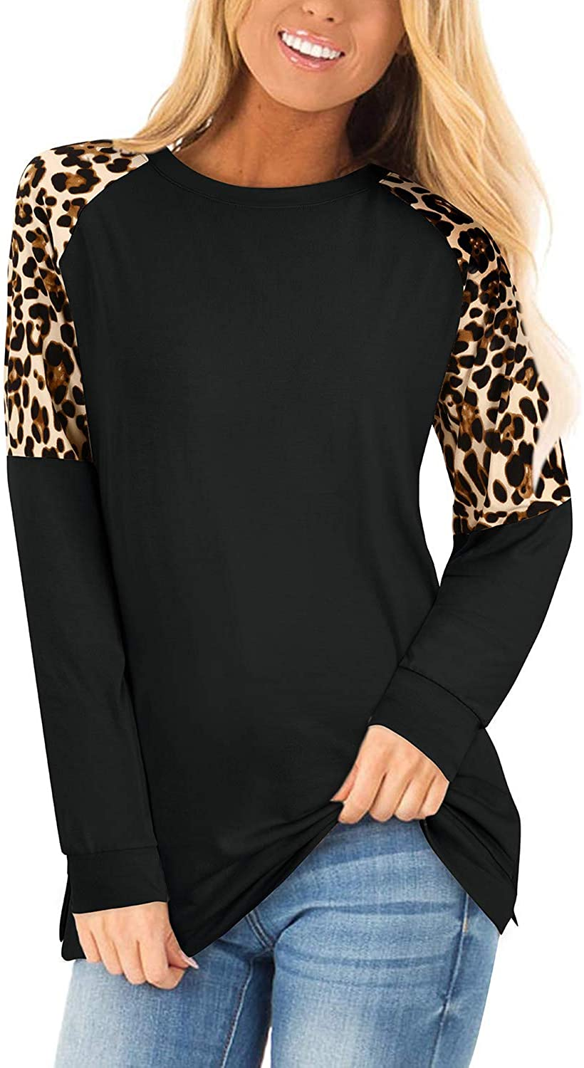 KILIG WOMENS SHORT | LONG SLEEVE SUMMER TOPS LEOPARD COLOR BLOCK PATCHWORK CASUAL T-SHIRTS ROUND NECK TUNIC TOPS