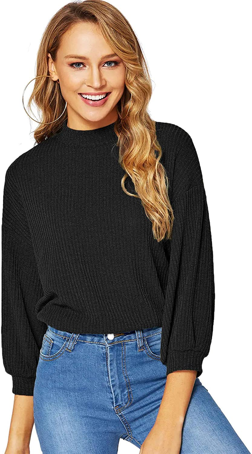 VERDUSA WOMEN`S 3 | 4 SLEEVE MOCK NECK RIB-KNIT TUNIC PULLOVERS TOP