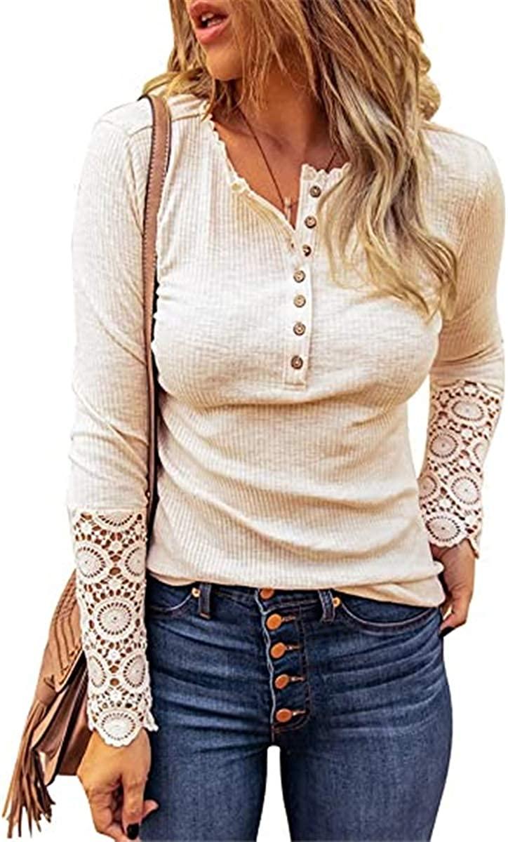 버튼 업 블라우스 여성 슬림 핏 니트 셔츠 레이스 소매 리브드 튜닉 롱 슬리브 V 넥 탑스