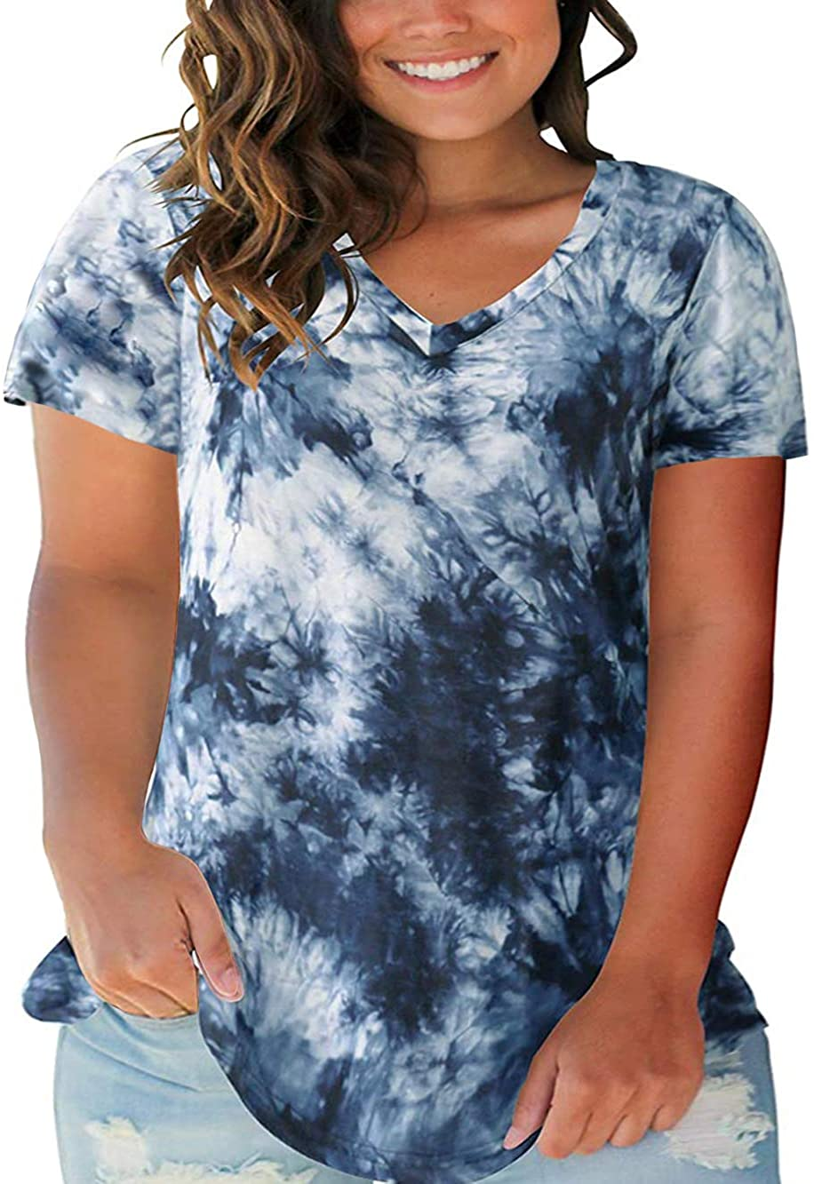 ROSRISS PLUS SIZE TOPS FOR WOMEN CASUAL SUMMER T SHIRTS V NECK SHORT SLEEVE TUNICS