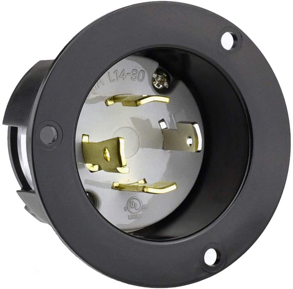 CLLENA NEMA L14-30 플랜지 발전기 전원 입구   출구 리셉터클 30AMP125   250V7500W 잠금 수 플러그 소켓(검정색)