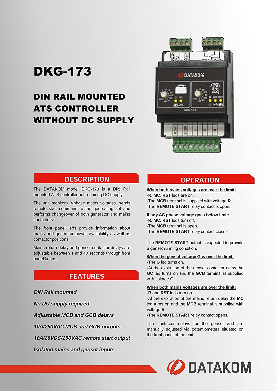 DATAKOM DKG-173 230   400 볼트 발전기   메인 자동 전송 스위치 패널(ATS)