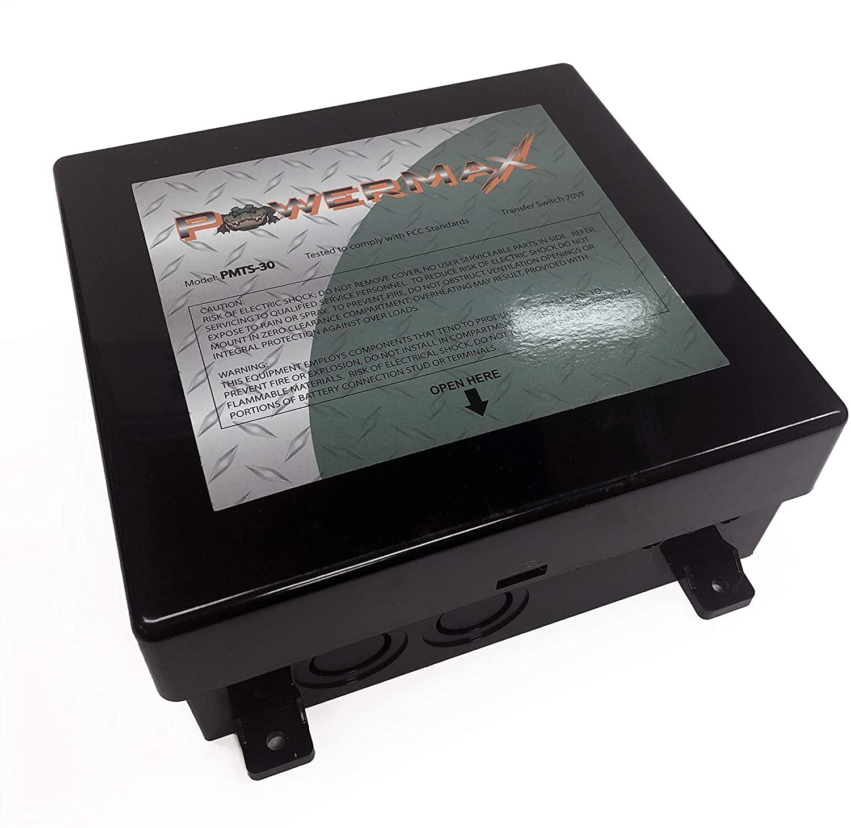 POWERMAX PMTS-30 12 볼트 DC 릴레이가있는 30AMP 자동 전송 스위치   2-110VAC 입력-단일 110VAC 출력   오프 그리드   백업 전원 솔루션