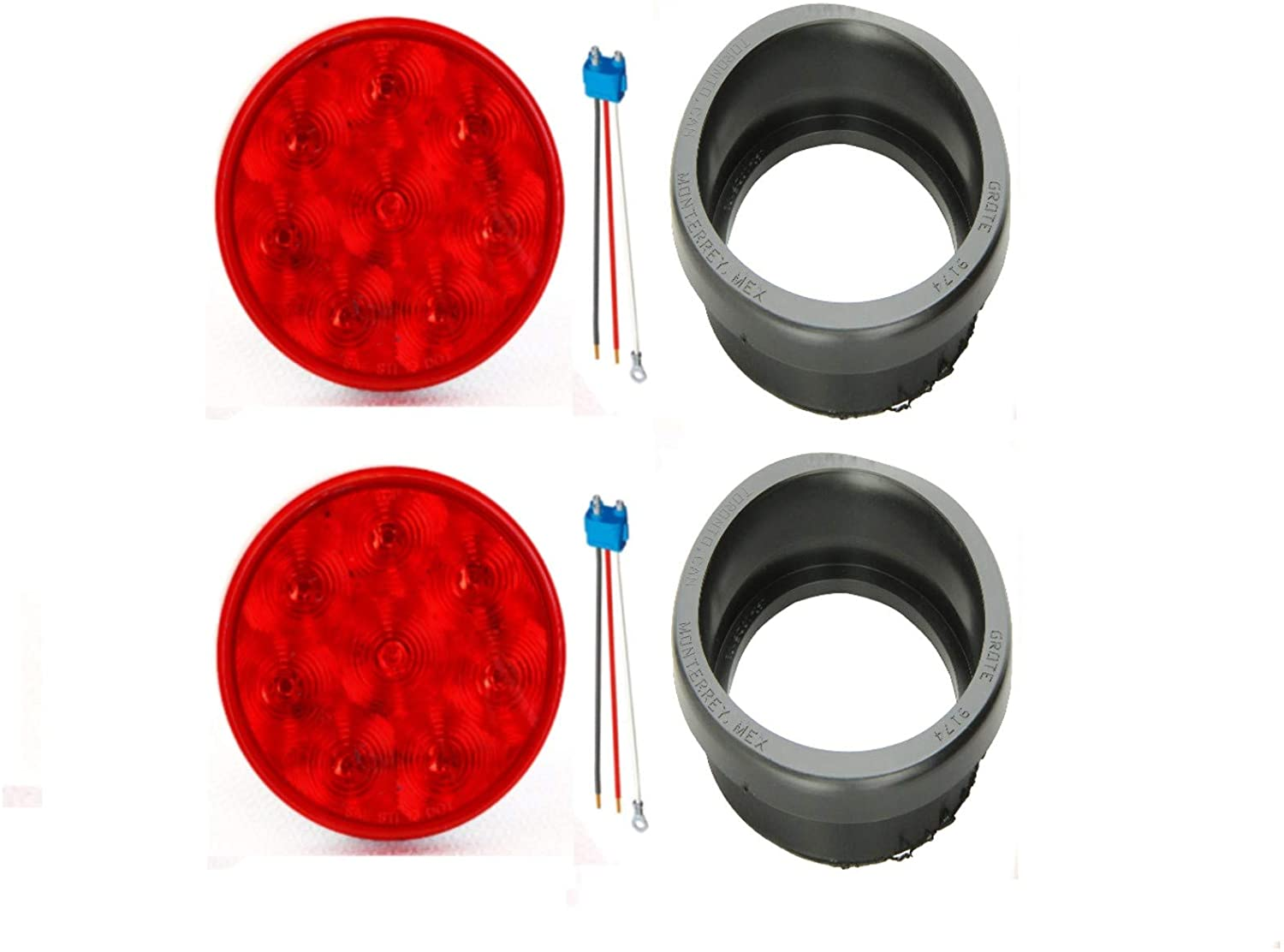 TRUX ACCESSORIES TLED-48R-2+67000-2+91740-2 ECONOMY FLEET 8 DIODE STOP TURN TAIL LIGHTS GROTE 3-WIRE PIGTAIL STRAIGHT CONNECTORS GROTE 4 RUBBER OPEN-BACK GROMMETS