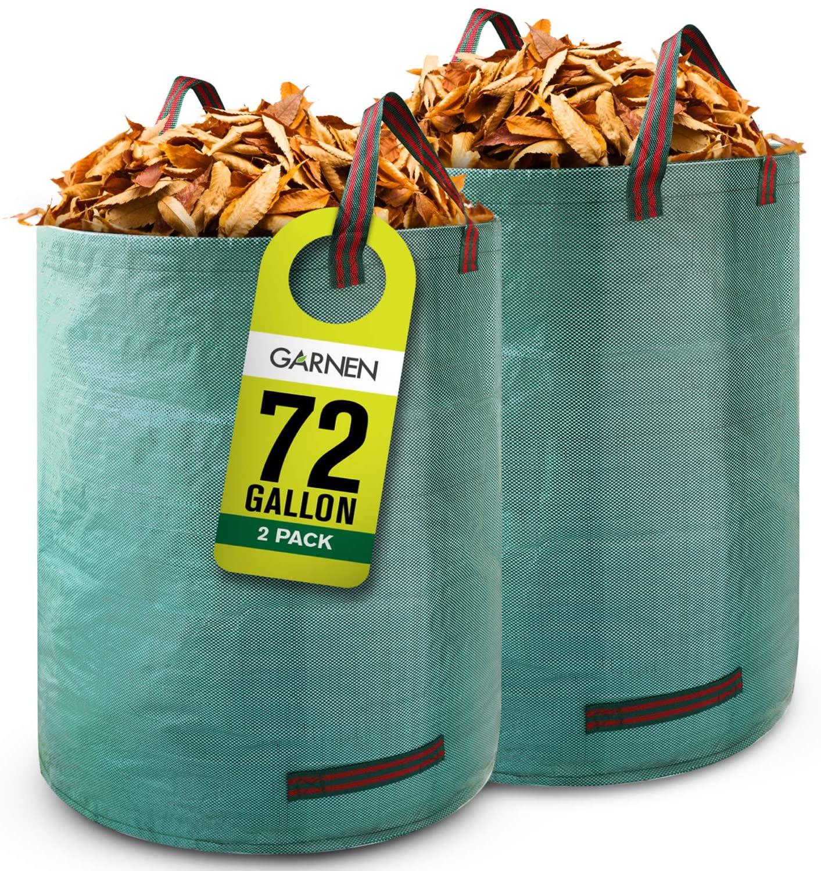 GARNEN72 갤런 정원 쓰레기 봉투(2 팩) 무거운 의무 재사용 | 접을 수 있는 잎을 가진 4 강화한 처리에 대한 잔디를 뜰 수영장 식물 쓰레기 트리밍 뜰을 만드는 컨테이너