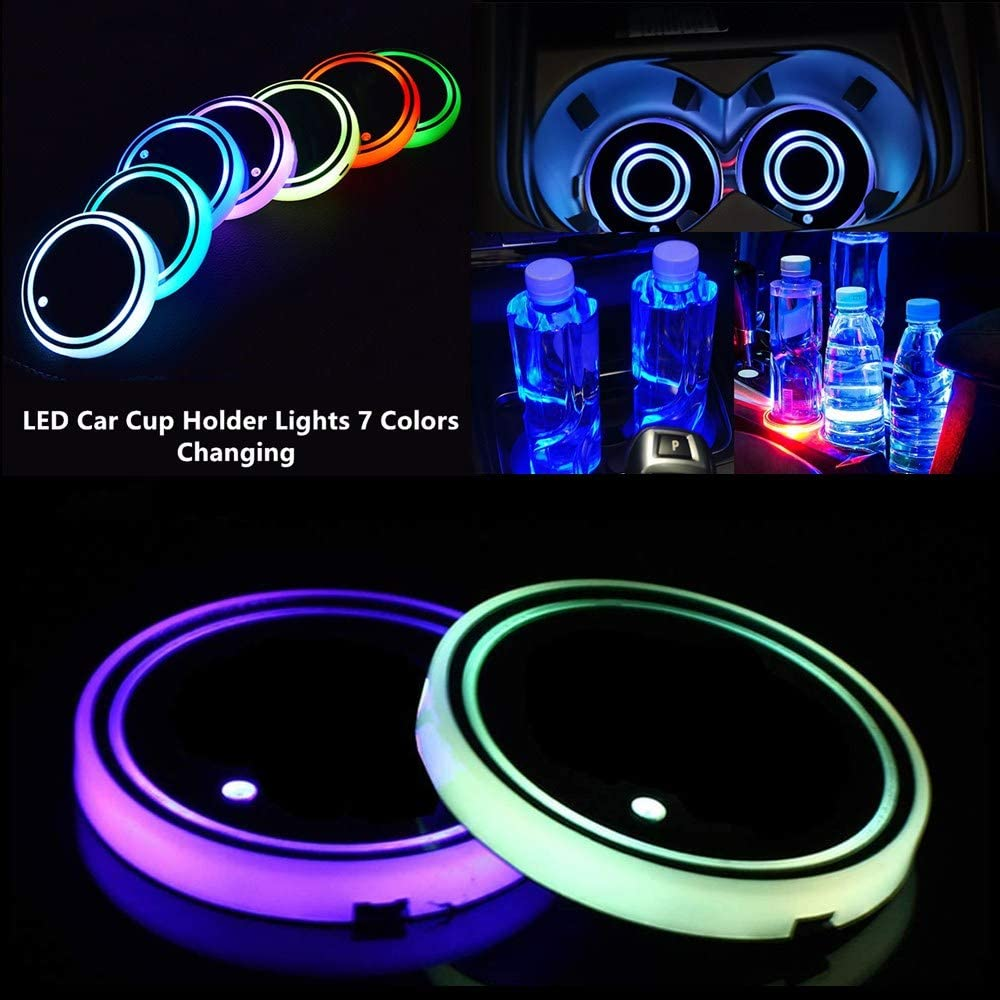 2PACK 자동차 LED 코스터 조명 7 색 자동차 코스터를위한 자동차 인테리어 분위기 조명이있는 조명 컵 홀더 조명